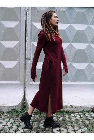 Платье с капюшоном Reboot Bordo